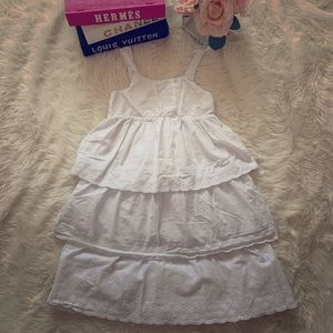 H & M Girls White Tiers Dress Size 7-8 Small